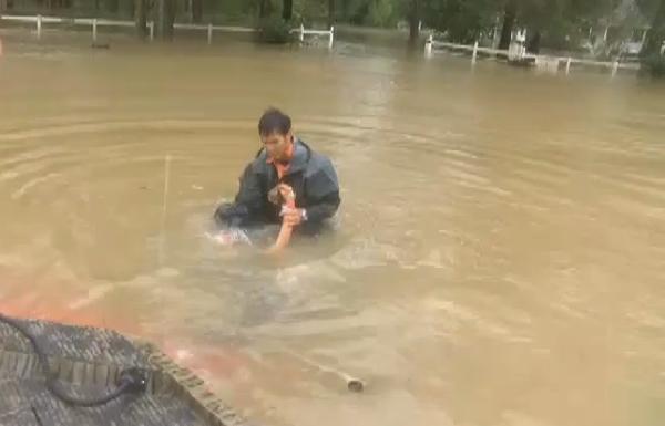rescata a una mujer y su perro