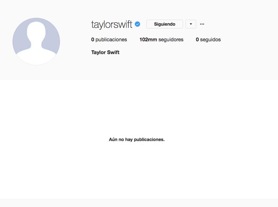 Taylor Swift 'desaparece' de las redes sociales