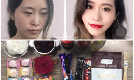maquillaje usando comida